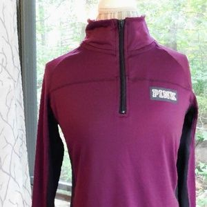 PINK Victoria's Secret Tops - VS 💟PINK Ultimate 1/2 zip pullover burgundy wine